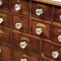 Medicine boxes at The Old Pharmacy Museum in Childers, QLD