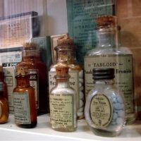 Old medicine bottles at The Old Pharmacy Museum in Childers, QLD