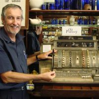 Old cash register at The Old Pharmacy Museum in Childers, QLD